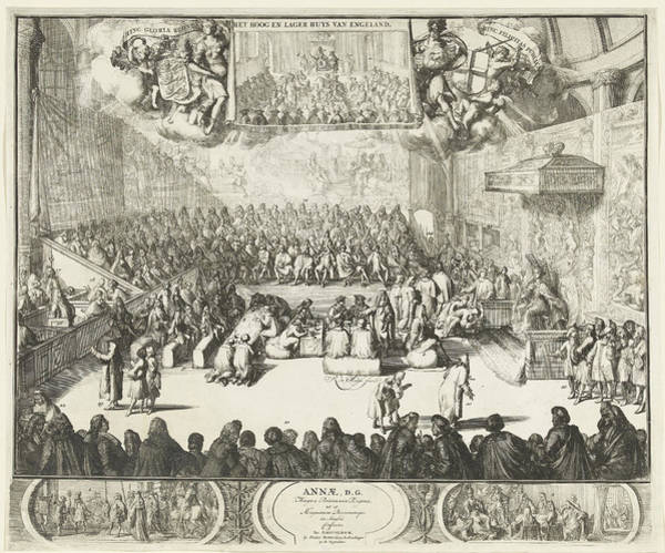 Allegorical Figure Drawing - Session Of The House Of Commons With Queen Anne by Romeyn De Hooghe