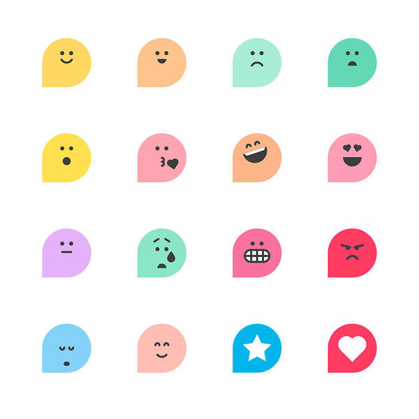 Set Of Basic Emoticons Reactions Art Print by Calvindexter