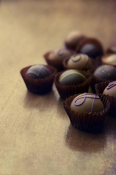 Knot Hole Photograph - Set Of Chocolate Pralines by Jaroslaw Blaminsky