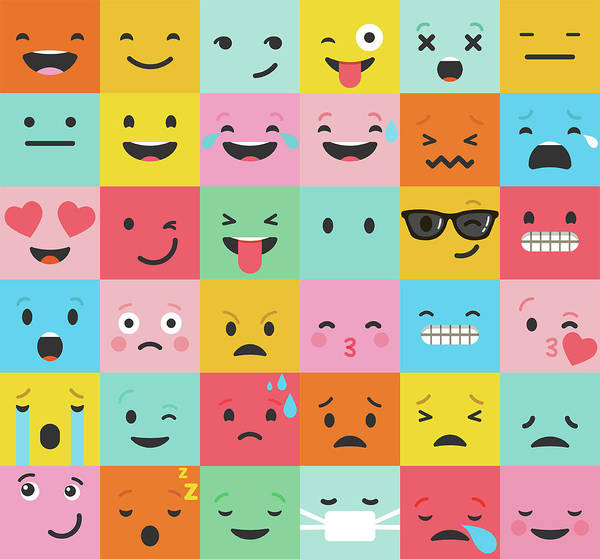 Crying Digital Art - Set Of Colorful Emoticons, Emoji Flat by Ma rish