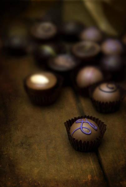 Knot Hole Photograph - Set Of Round Chocolate Pralines by Jaroslaw Blaminsky