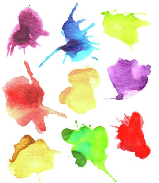 Art Object Digital Art - Set Of Watercolor Splashes by Crisserbug
