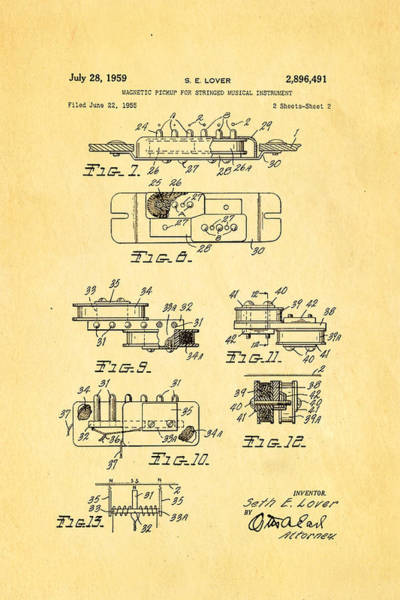 Inventor Photograph - Seth Lover Gibson Humbucker Pickup 2 Patent Art 1959 by Ian Monk