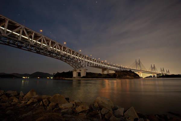 Okayama Prefecture Photograph - Seto Ohashi Bridge At Night by Tdubphoto