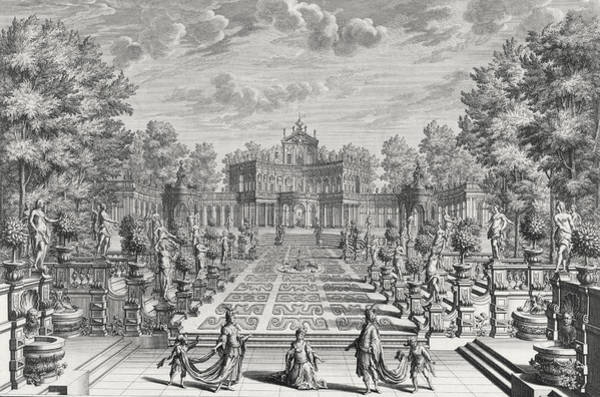 Floral Design Drawing - Setting For An Opera In A Garden by Giuseppe Bibiena