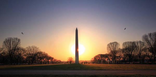Photograph - Setting Sun On Washington Monument by Shelley Neff