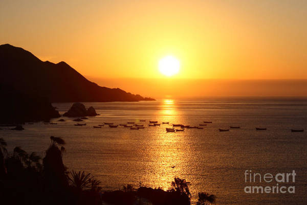 Photograph - Setting Sun Over The Pacific Ocean by James Brunker