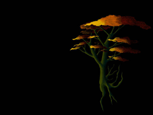 Growing Up Digital Art - Setting Tree by Tanias Reign