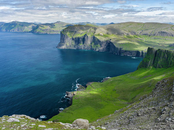 Faroe Island Wall Art - Photograph - Settlement Vikar And Mountains, Island by Martin Zwick