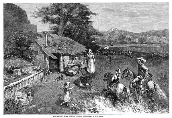 Clothesline Painting - Settlers, 1880 by Granger