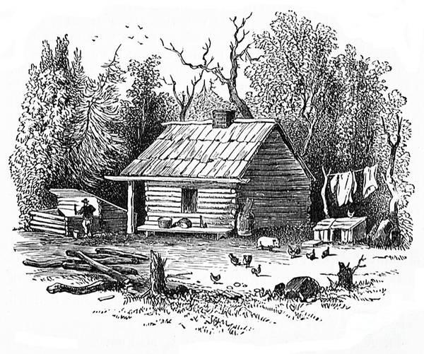 Settler's Log Cabin - 1878 Art Print