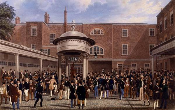 Equestrian Drawing - Settling Day At Tattersalls, Print Made by James Pollard