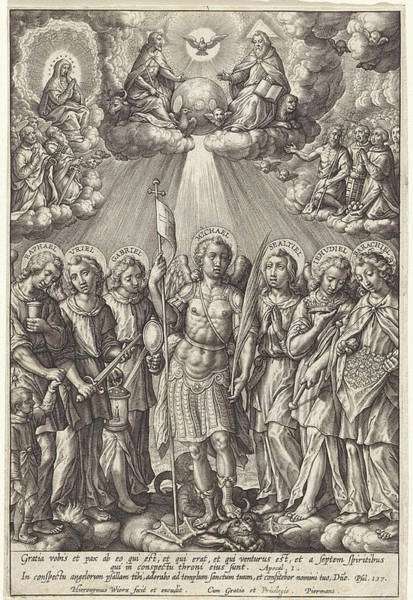 Holy Ghost Drawing - Seven Archangels, Hieronymus Wierix by Hieronymus Wierix
