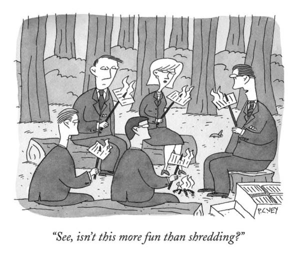 Fun Drawing - Several Business People Sit Around A Campfire by Peter C. Vey