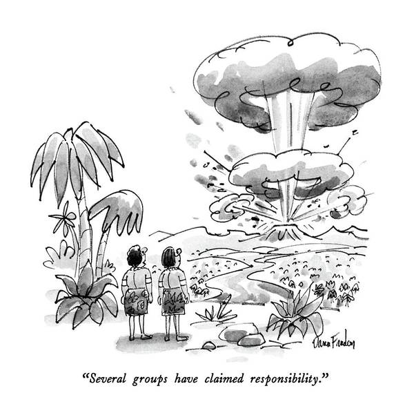 Palm Trees Drawing - Several Groups Have Claimed Responsibility by Dana Fradon