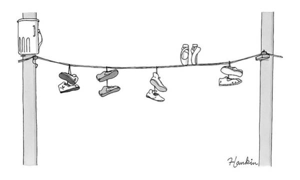 News Stand Drawing - Several Pairs Of Shoes Dangle Over An Electrical by Charlie Hankin