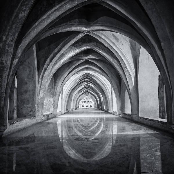 Grottos Photograph - Baths At Alcazar Seville Bw by Joan Carroll