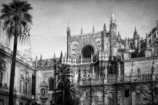 Photograph - Seville Cathedral Morning Light Bw by Joan Carroll