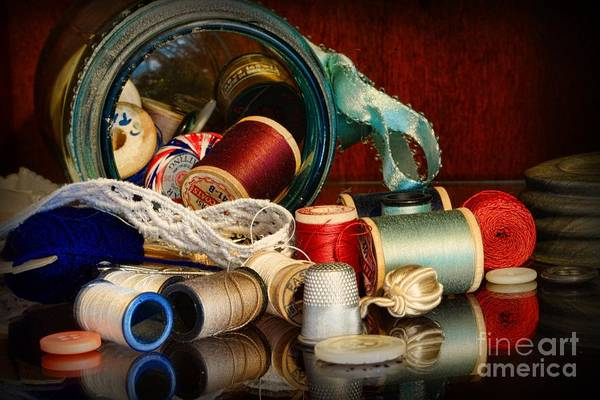 Wall Art - Photograph - Sewing - Grandma's Mason Jar by Paul Ward