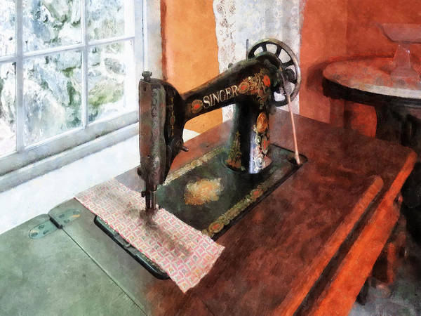 Photograph - Sewing Machine Near Lace Curtain by Susan Savad