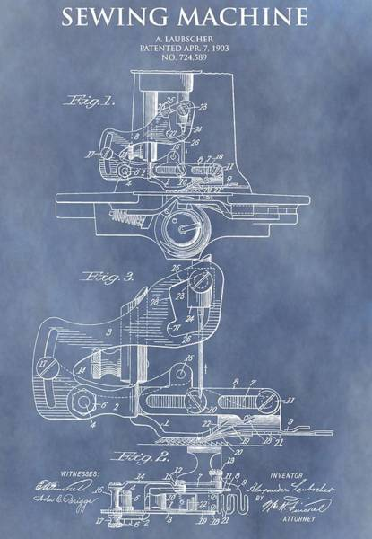 Clothing Mixed Media - Sewing Machine Patent by Dan Sproul