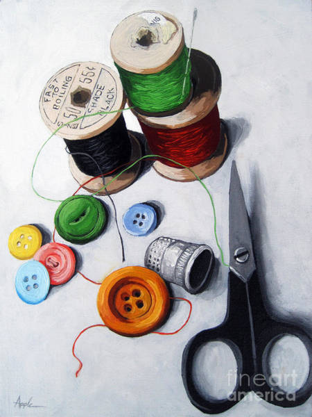 Sewing Wall Art - Painting - Sewing Memories by Linda Apple