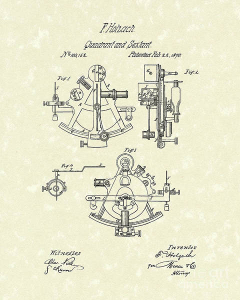 Wall Art - Drawing - Sextant 1870 Patent Art by Prior Art Design
