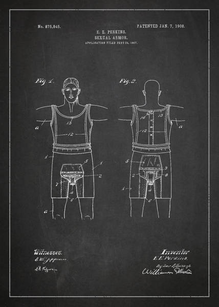 Device Digital Art - Sexual Armor Patent Drawing From 1908 by Aged Pixel