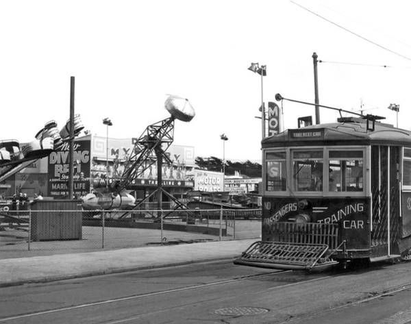 Photograph - Sf Streetcar At Playland by Underwood Archives