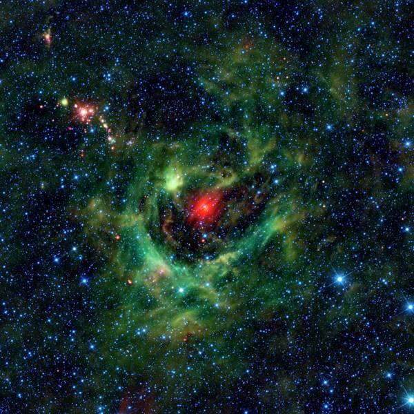Ir Photograph - Sh2-205 Nebula by Nasa/jpl-caltech/ucla/science Photo Library