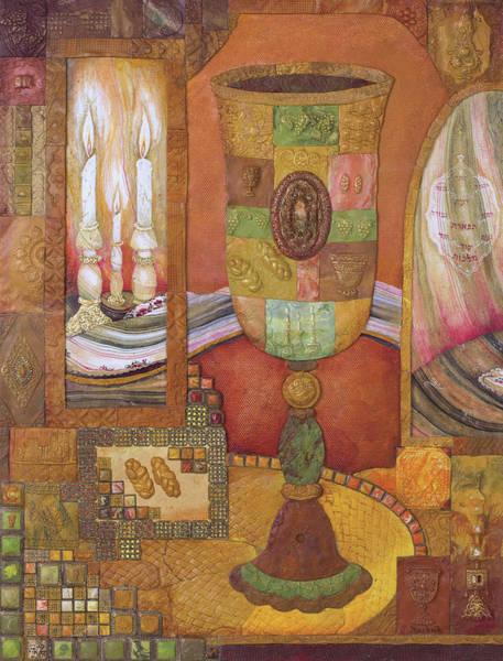 Alef Bet Wall Art - Painting - Shabbat Mosaic by Michoel Muchnik