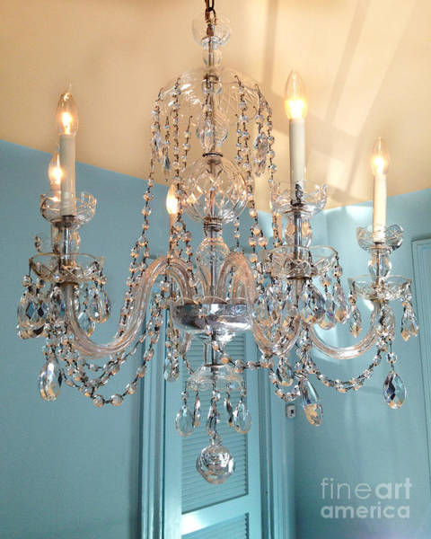 Chandelier Photograph - Shabby Chic Cottage Sparkling White Crystal Chandelier Photo - Dreamy Parisian Crystal Chandelier  by Kathy Fornal