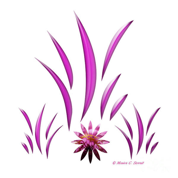 Digital Art - Shades Of Pink Leaves And Flower On Pink Design by Monica C Stovall
