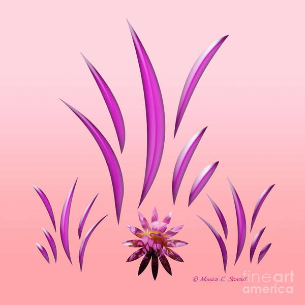 Digital Art - Shades Of Pink Leaves And Pink Flower On Pink Design by Monica C Stovall