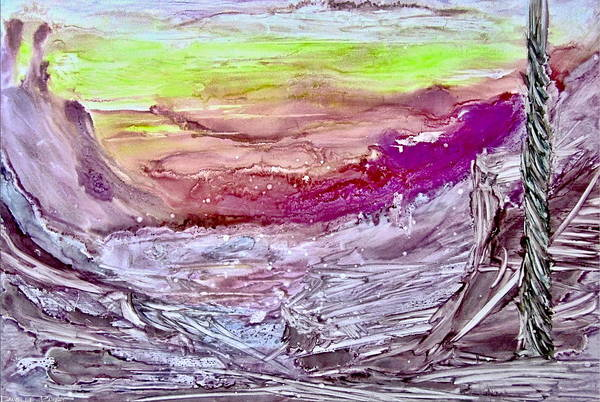 Painting - Shades Of Pink Mountains Alcohol Inks by Danielle  Parent