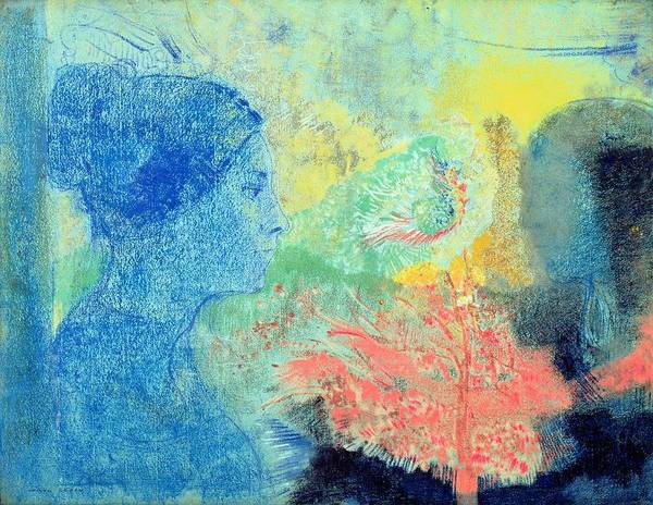 Shades Of Blue Wall Art - Painting - Shades Of Sleep  by Odilon Redon
