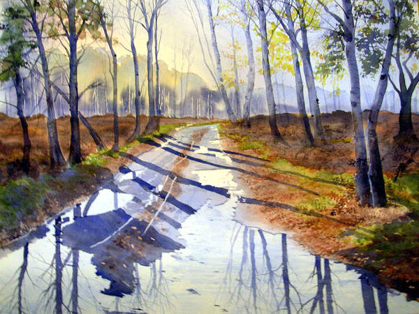 Painting - Shadows And Reflections On Skipwith Common by Glenn Marshall