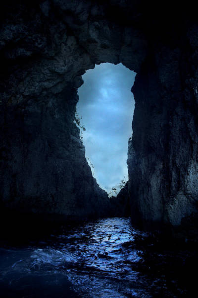Light Blue Photograph - Shadowy Grotto - Malta by Cambion Art
