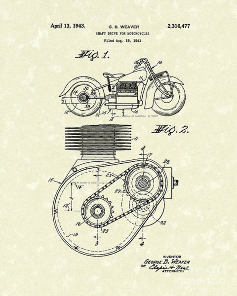 Wall Art - Drawing - Shaft Drive 1943 Patent Art by Prior Art Design