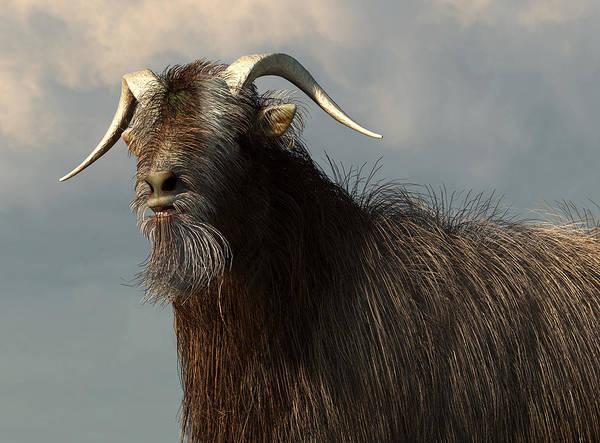 Digital Art - Shaggy Goat Closeup by Daniel Eskridge