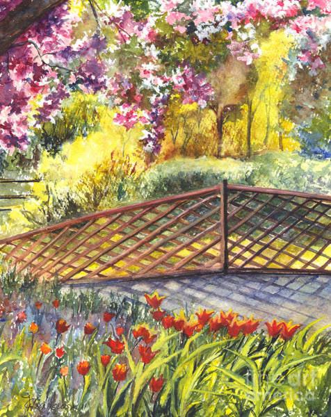 Floral Watercolor Drawing - Shakespeare Garden Central Park New York City by Carol Wisniewski