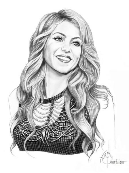 Spanish People Drawing - Shakira by Murphy Elliott