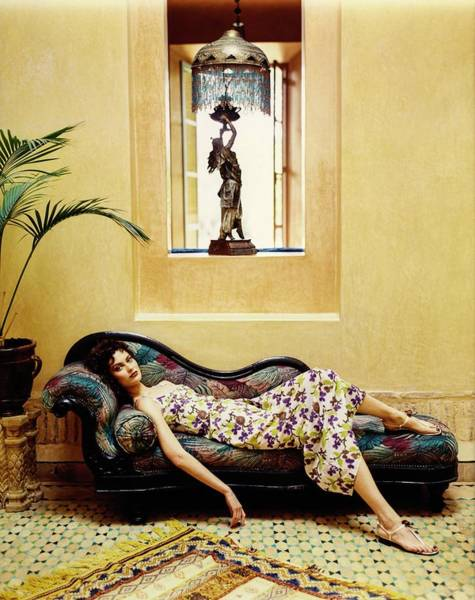 Floor Lamp Photograph - Shalom Harlow Wearing A Floral Prada Dress by Arthur Elgort