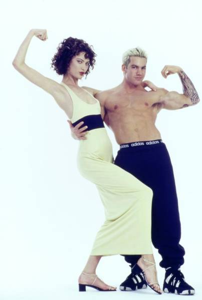 Wall Art - Photograph - Shalom Harlow With Celebrity Fitness Trainer Sacha by Arthur Elgort