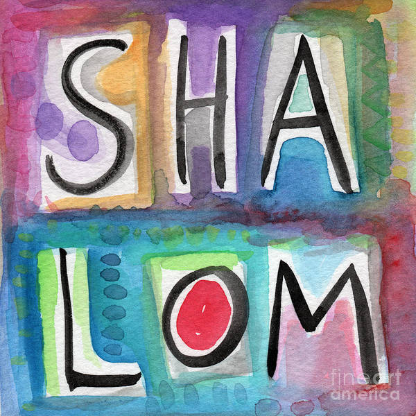Jewish Art Wall Art - Painting - Shalom - Square by Linda Woods
