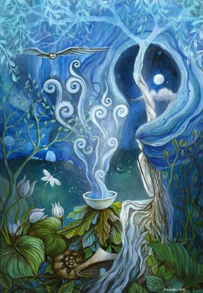 Owl Painting - Shaman Light by Amanda Clark