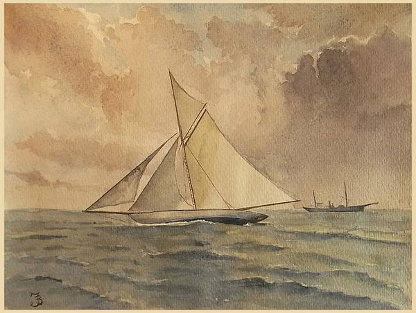 Yacht Painting - Shamrock I by Juan  Bosco