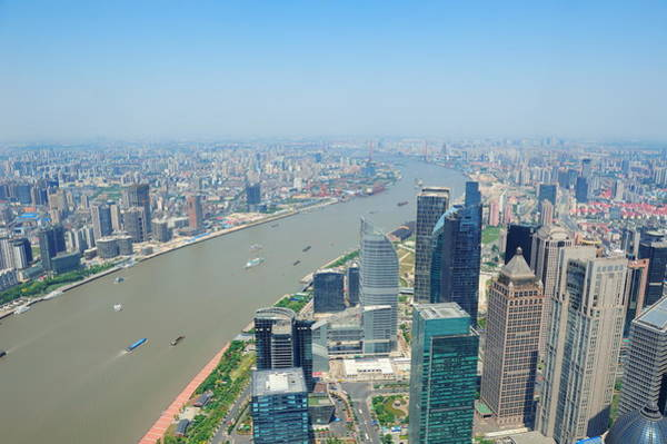 Photograph - Shanghai Aerial In The Day by Songquan Deng
