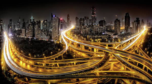 Traffic Photograph - Shanghai At Night by Clemens Geiger