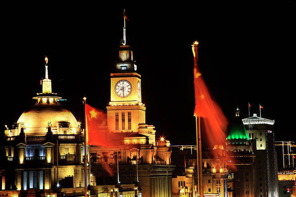 Wall Art - Photograph - Shanghai, China Bund At Night Clock by William Perry